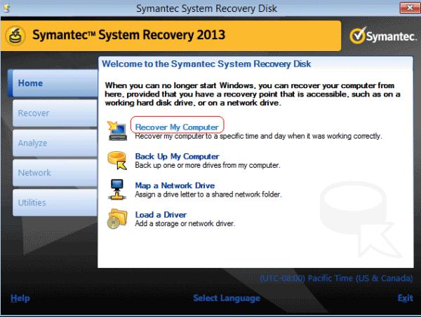 symantec system recovery screenshot 1