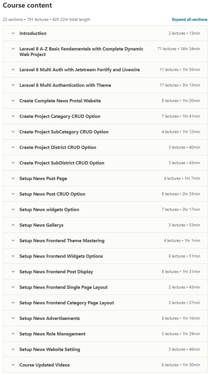 يتقدم Laravel 8 للمبتدئين مع محتويات Portal_contents كاملة للأخبار