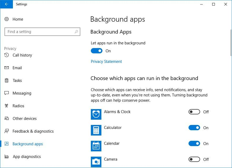 Turn off background app using privacy settings