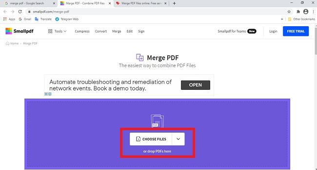 تحويل ملفات PDF متعددة إلى ملف واحد