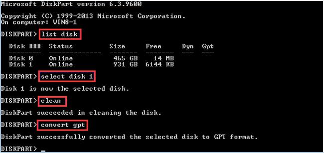 تحويل gpt diskpart