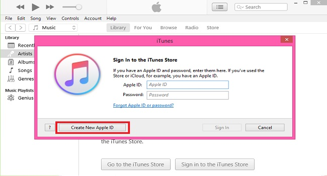 قم بإنشاء معرف Apple باستخدام تطبيق iTunes