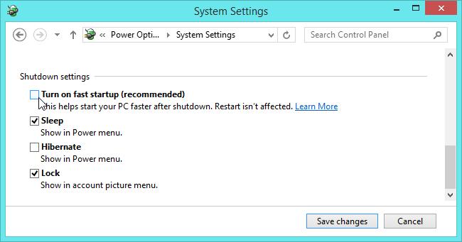 تعطيل بدء التشغيل السريع على نظام التشغيل windows 8.1