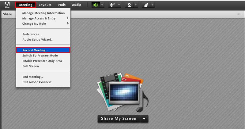 برنامج تعليمي لتسجيل جلسة في Adobe Connect - تسجيل الصوت والفيديو في Adobe Connect