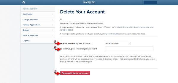 الخطوة الثالثة هي حذف حساب Instagram الخاص بك