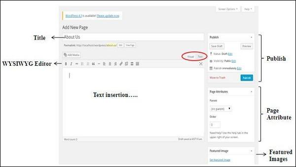 WordPress أضف صفحات
