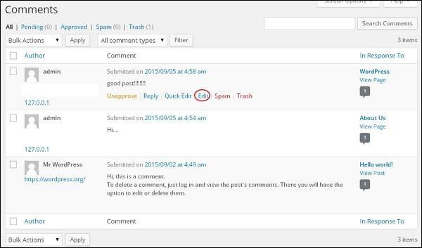 ووردبريس تحرير التعليقات