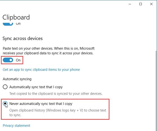 محفوظات حافظة Windows 10