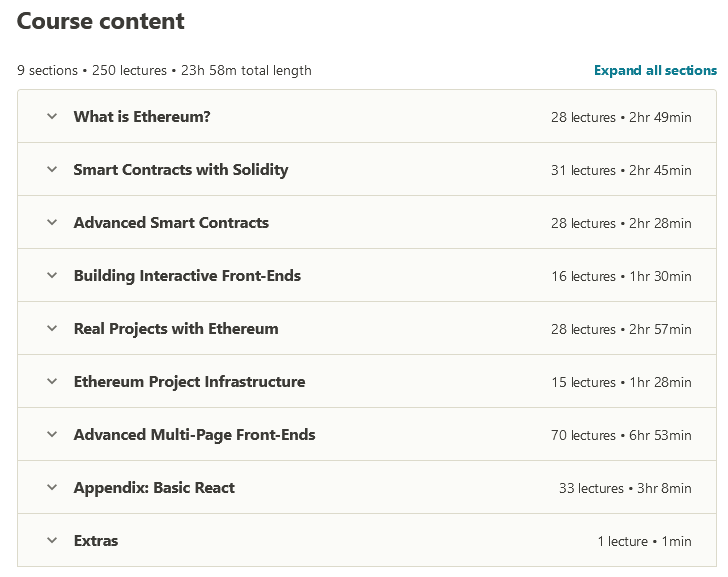Ethereum and Solidity The Complete Developers Guide Content