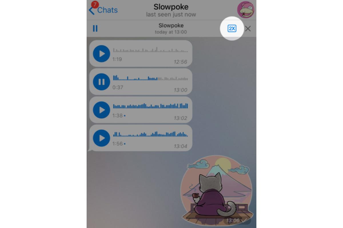 لقطة شاشة لتغيير سرعة تشغيل رسالة Telegram / Telegram