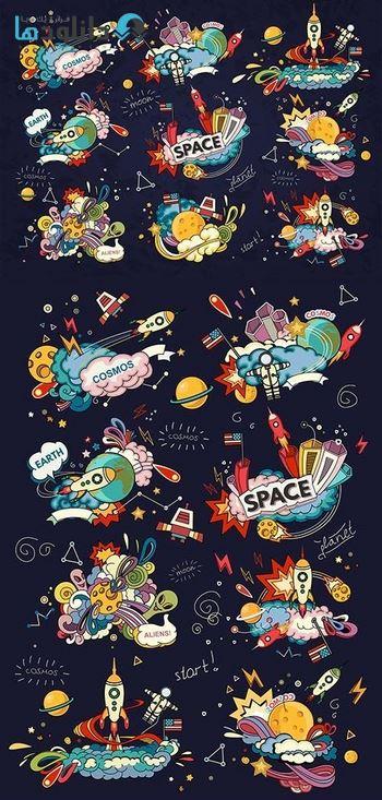 أيقونة-الفضاء-الكرتون-ستايل-أيقونة
