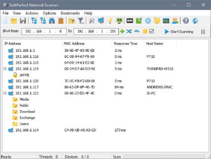 SoftPerfect Network Scanner 8